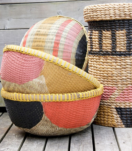 Pretty Colored Baskets, Coral, Black, Pink, Yellow