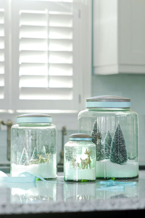 Holiday DIY Green Glass Snow Globes
