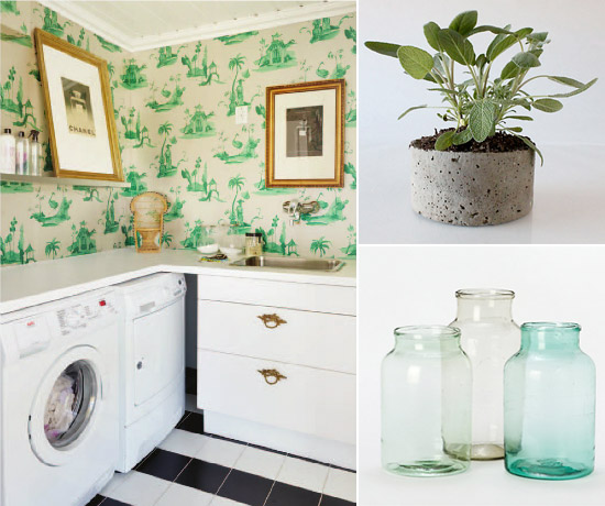 Green & Gold Laundry Room, Gifts from Terrain