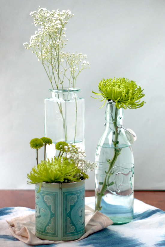 Green & White Floral Arrangement - Trio of Tins & Vases