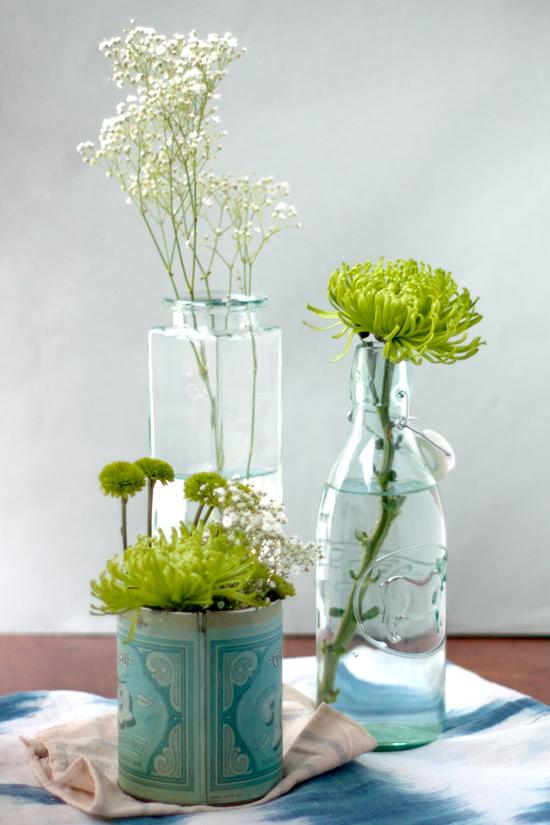 Green & White Floral Arrangement - Trio of Tins & Vases