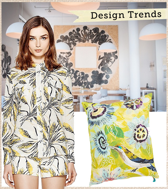 Surface Pattern, Design & Merchandising Trends - Spring 2013 - Graphic Retro Yellow Botanicals