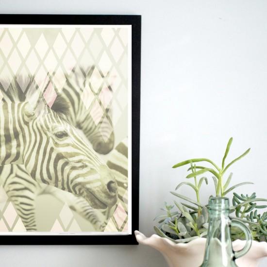 geometric diamond pattern zebra stripe poster