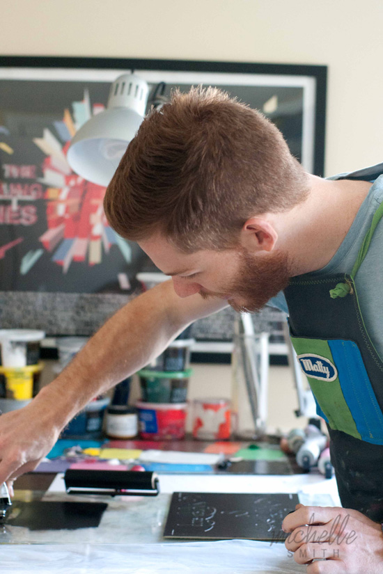 Matt Butler, Raleigh, NC Printmaker, Rock & Shop Market – Photo by Michelle Smith