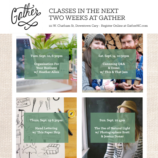 Classes at Gather, Cary, NC