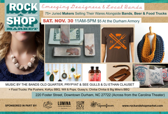 Advertisement Postcard for The Rock & Shop Market in Durham, NC | Produced by Michelle Smith of Gather Goods Co