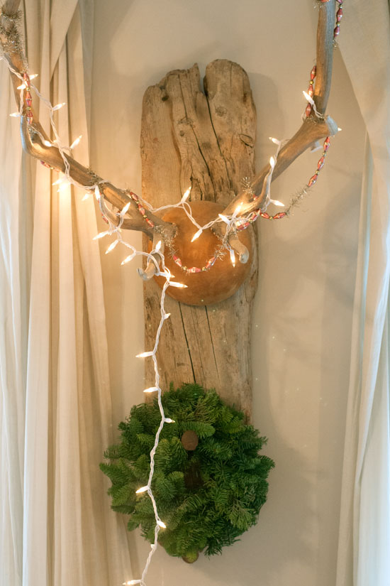 Antlers, Twinkle Lights & Holiday Wreath, Michelle Smith's Home