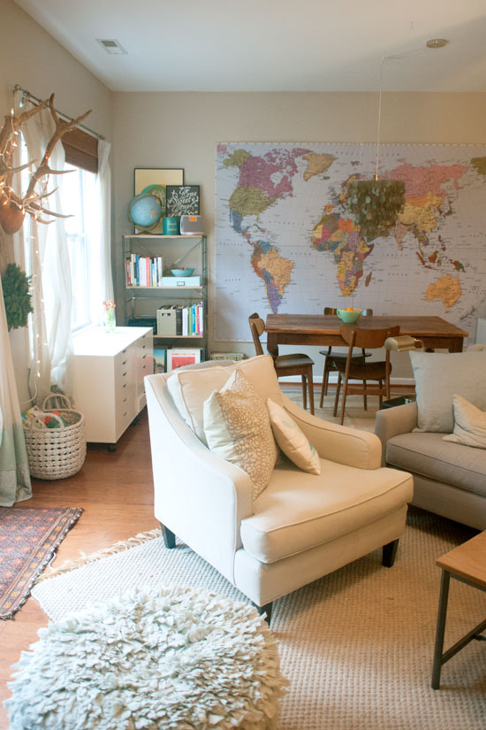 Antlers, Textiles, Map, Wooden Farm Table, Michelle Smith's Home