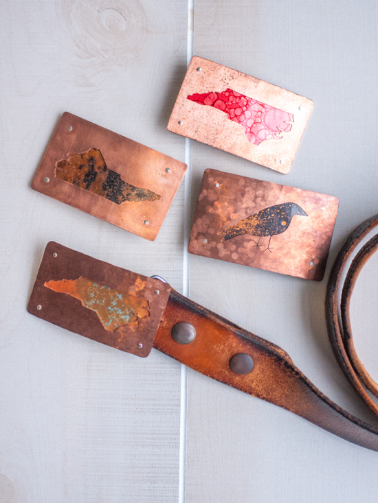 Copper Patina Belt Buckles, Made in North Carolina, at Gather in Cary, North Carolina