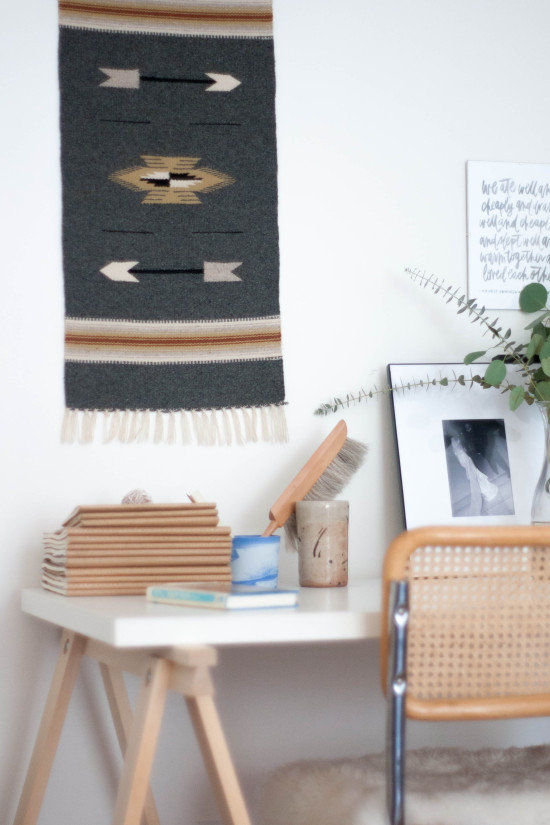 Desk Vignette with Woven Wall Hanging