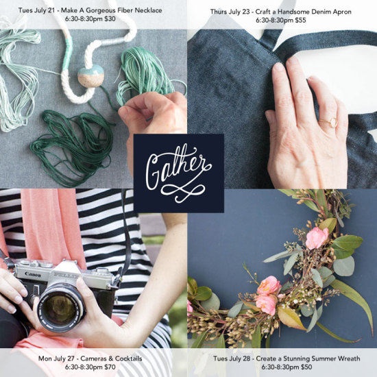 July Classes at Gather in Cary, North Carolina