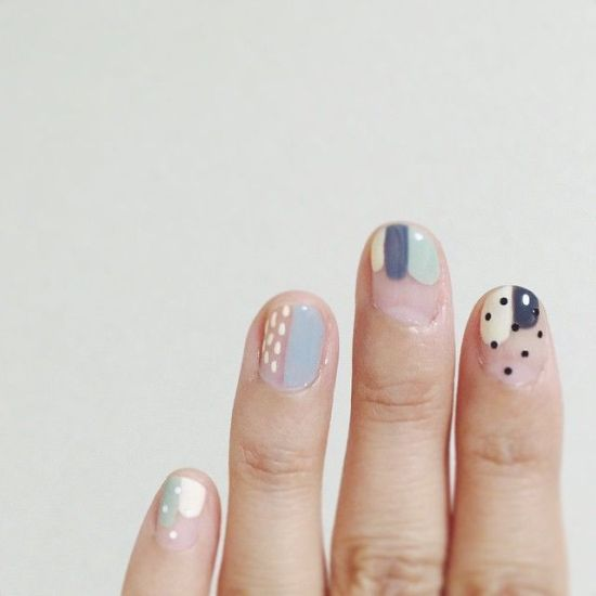 Gray and Pink Polka Dot Pattern Nail Designs | Feminine Modern Blog