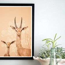 African Antelopes, 11 x 17 Poster, Antlers, Peach, Floral Pattern